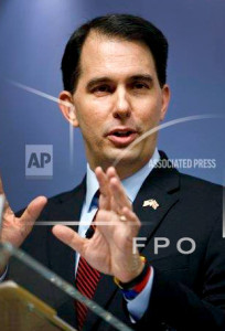 Wisconsin Gov. Scott Walker delivers his speech at Chatham House in central London, Wednesday, Feb. 11, 2015.  (AP Photo/Lefteris Pitarakis)