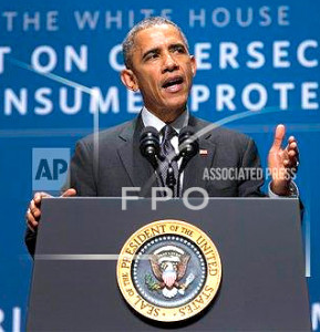 President Barack Obama speaks during a summit on cybersecurity and consumer protection, Friday, Feb. 13, 2015, at Stanford University in Palo Alto, Calif.  (AP Photo/Evan Vucci)