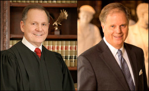 Left: Former state Supreme Court Chief Justice Roy Moore. Right: Ex-US Attorney Doug Jones