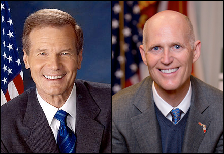 Left: Florida Sen. Bill Nelson (D) | Right: Florida Gov. Rick Scott (R)