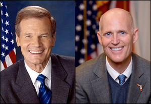 Left: Florida Sen. Bill Nelson (D) | Right: Gov. Rick Scott (R)