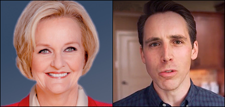 Sen. Claire McCaskill (D) and state Attorney General Josh Hawley (R)