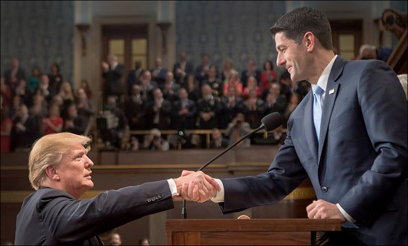US House of Representatives Speaker Paul Ryan and President Donald Trump shake hands at the 2018 State of the Union speech.