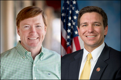 Florida state Agriculture Commissioner and former US Congressman Adam Putnam (left) -- ahead by 17 percent; US Rep. Ron DeSantis (R-Palm Coast/Daytona Beach) leading by 17 percent