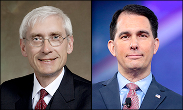 Superintendent of public instruction, Tony Evers (D), left, and Gov. Scott Walker (R)