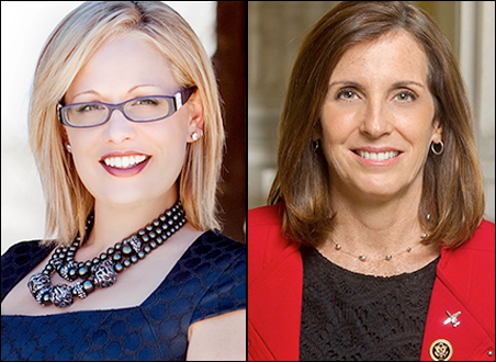 L-R -- Arizona Reps. Kyrsten Sinema (D-Phoenix) and Martha McSally (R-Tucson)